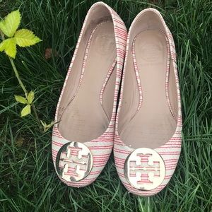 Tory Burch red and white reva flats size 6